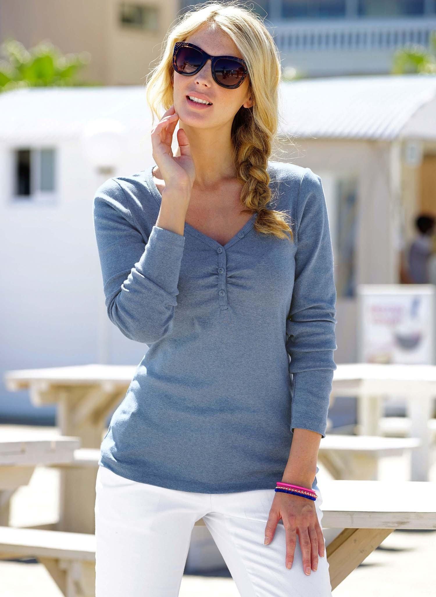 D-LA-Shirt,V-Auss.indigo mel. S 366 - 1 - Ronja.ch