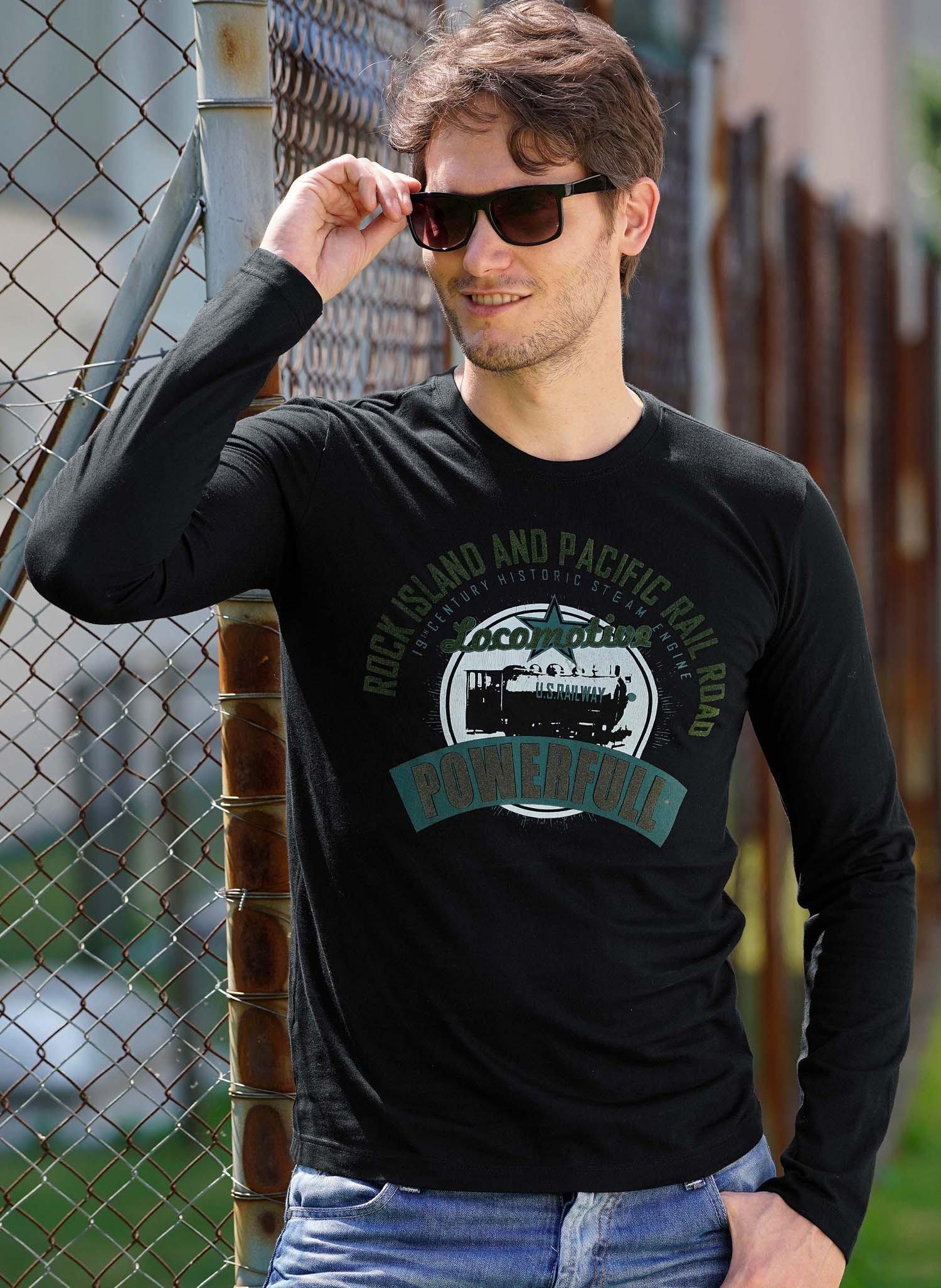 """H-LA-Shirt,""""POWERFULL""""grün/sch L - 1 - Ronja.ch"""