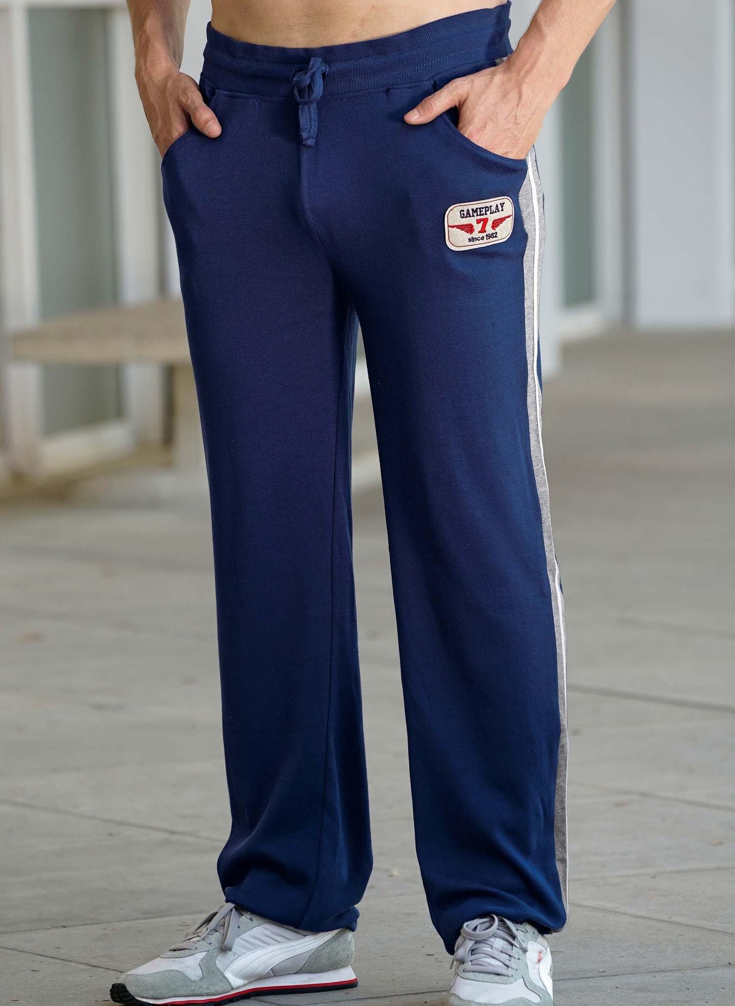 H-Pantalon-loisir,rayures bleu