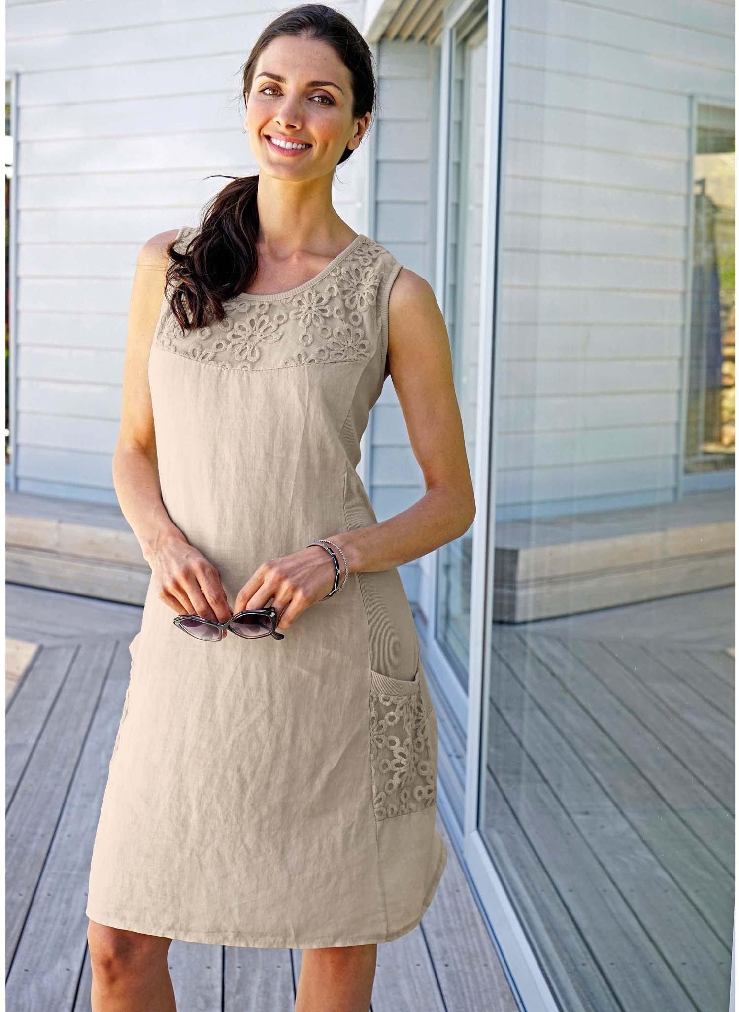 D-Leinen-Kleid,Floral natur L 081 - 2 - Ronja.ch