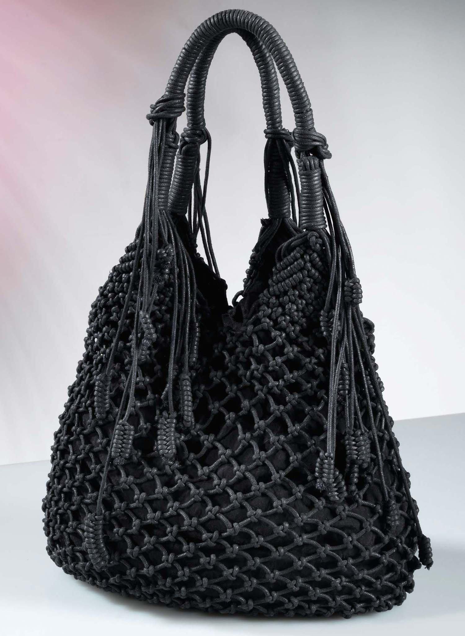 D-Handtasche,Netzknopf,schwarz - 1 - Ronja.ch