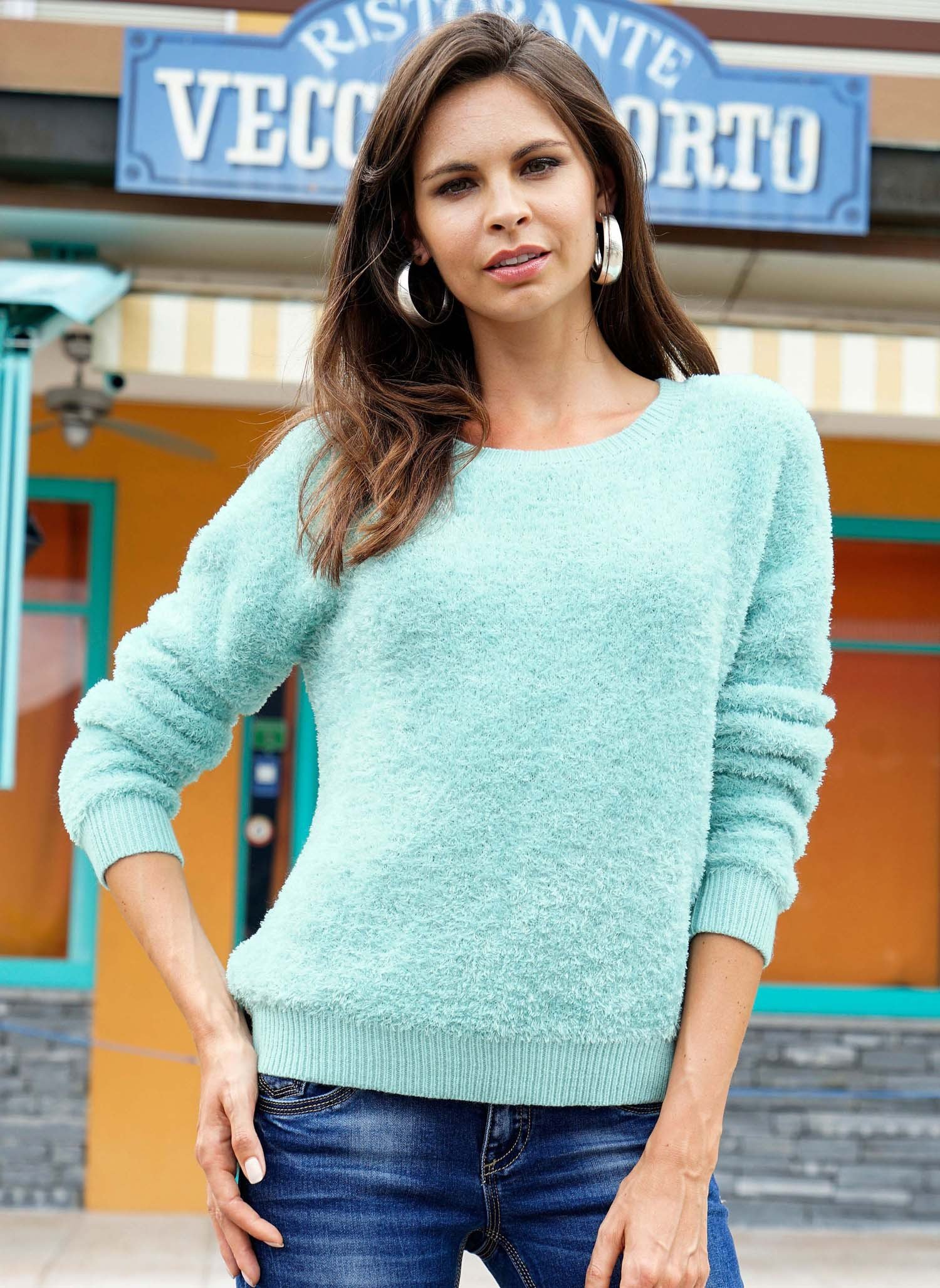 D-Pullover,Chenille,mint L 078 - 1 - Ronja.ch