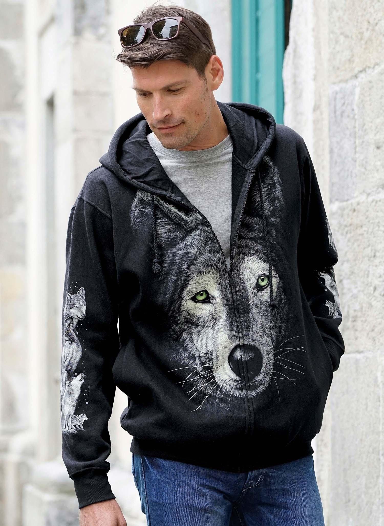 """H-Sweat-Jacke""""Wolf""""schwarz L 010 - 1 - Ronja.ch"""