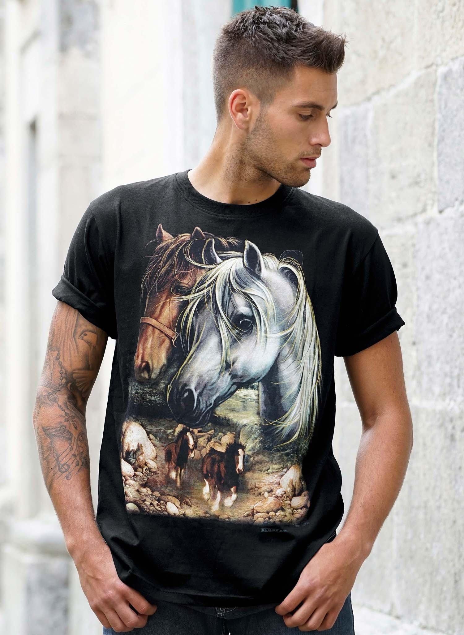 "H-KA-Shirt,Pr.""Pferde"" schwarz L 010 - 1 - Ronja.ch"