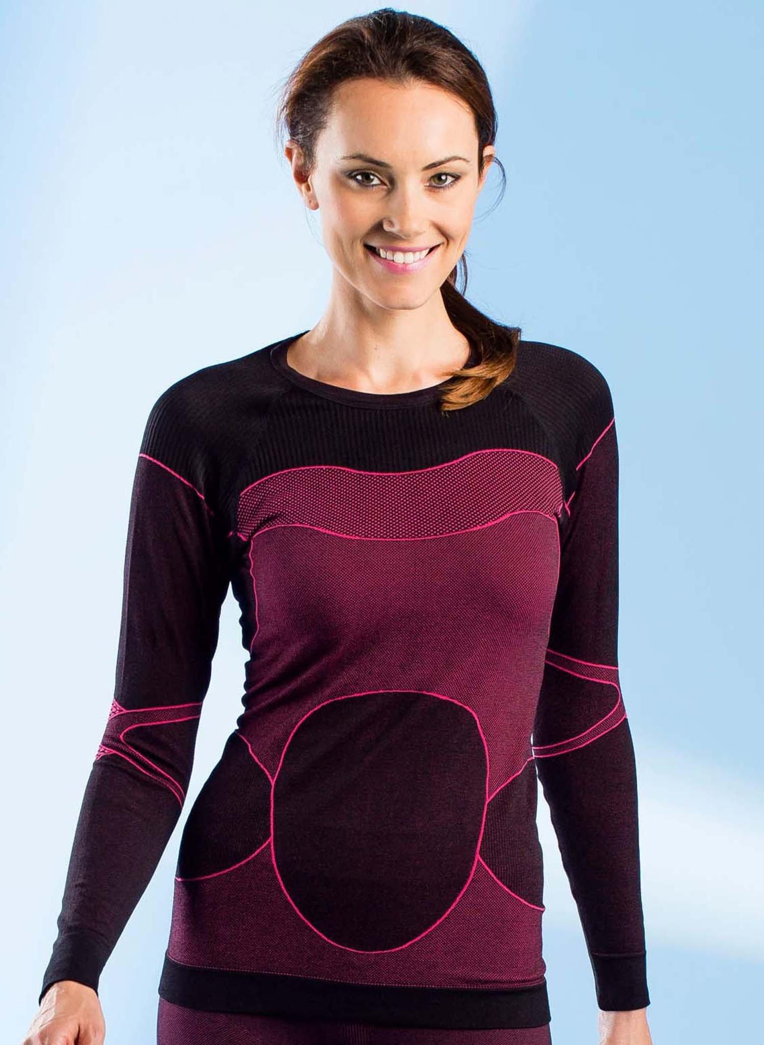 D-ML-Shirt-thermique noir/pink