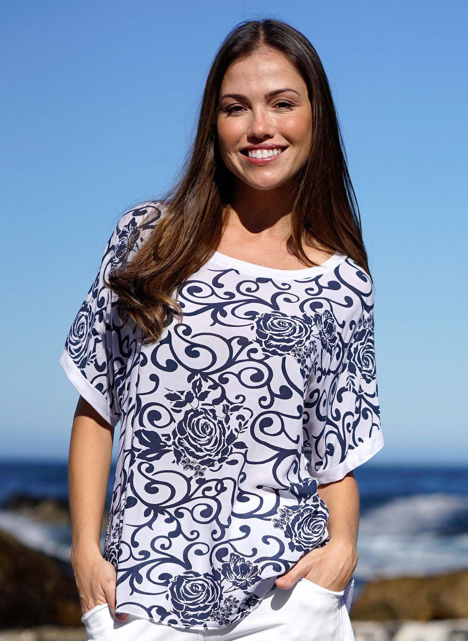 D-KA-Shirt,Floral marine/weiss L 204 - 1 - Ronja.ch