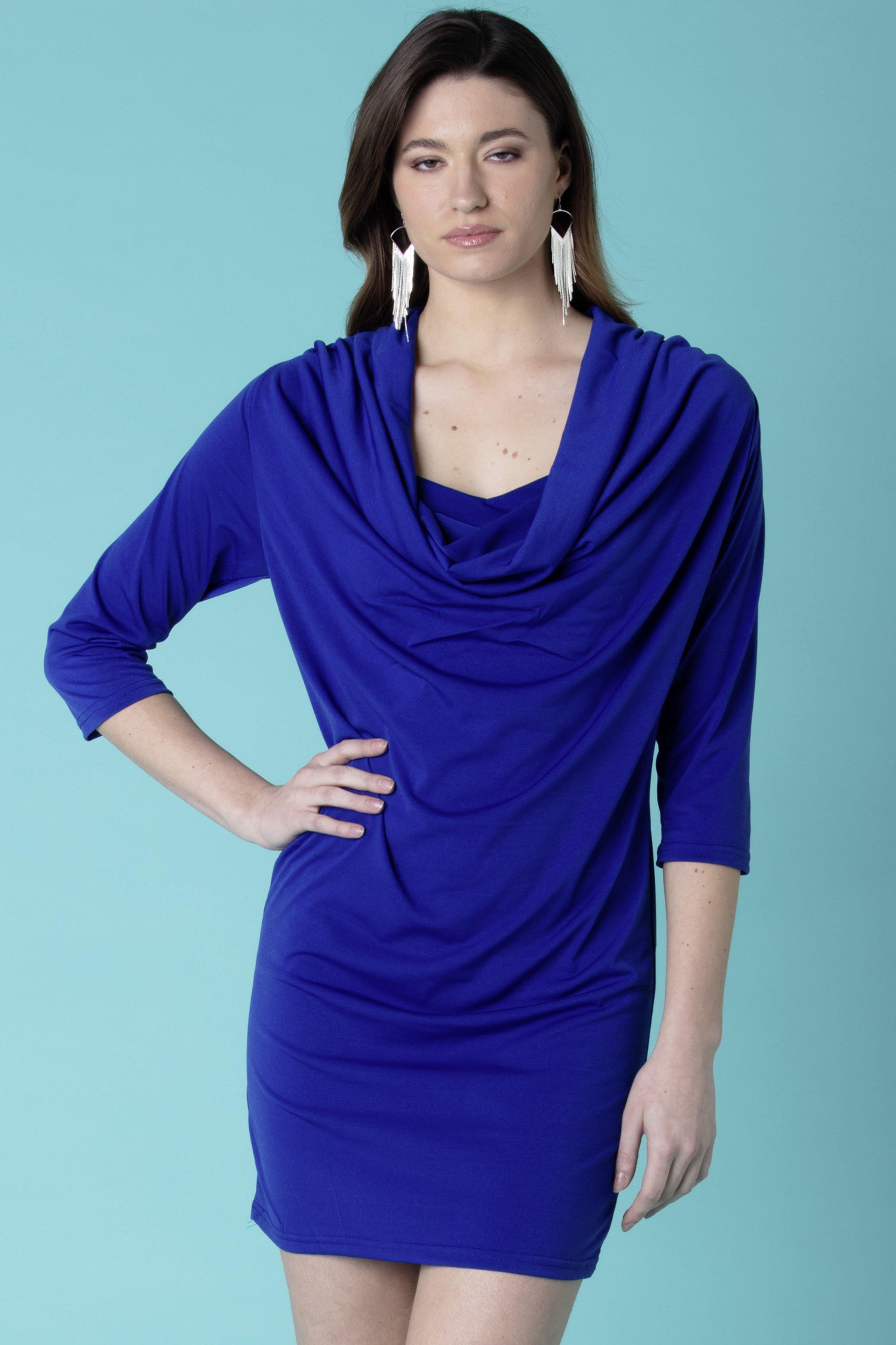 D-3/4-Arm-Kleid,Wasserf.k'blau L 052
