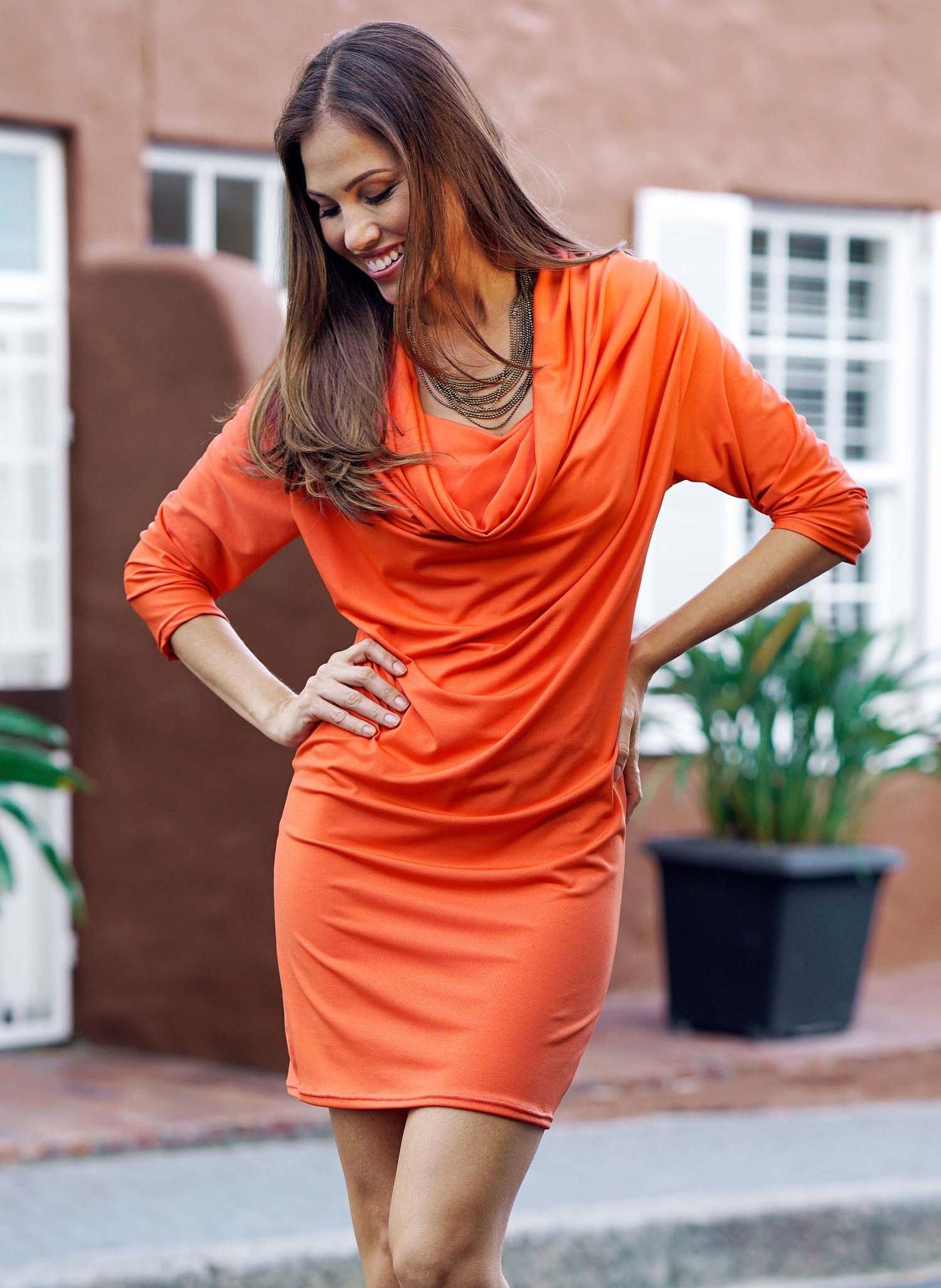 D-3/4-Arm-Kleid,Wasserf.orange L 022 - 3 - Ronja.ch