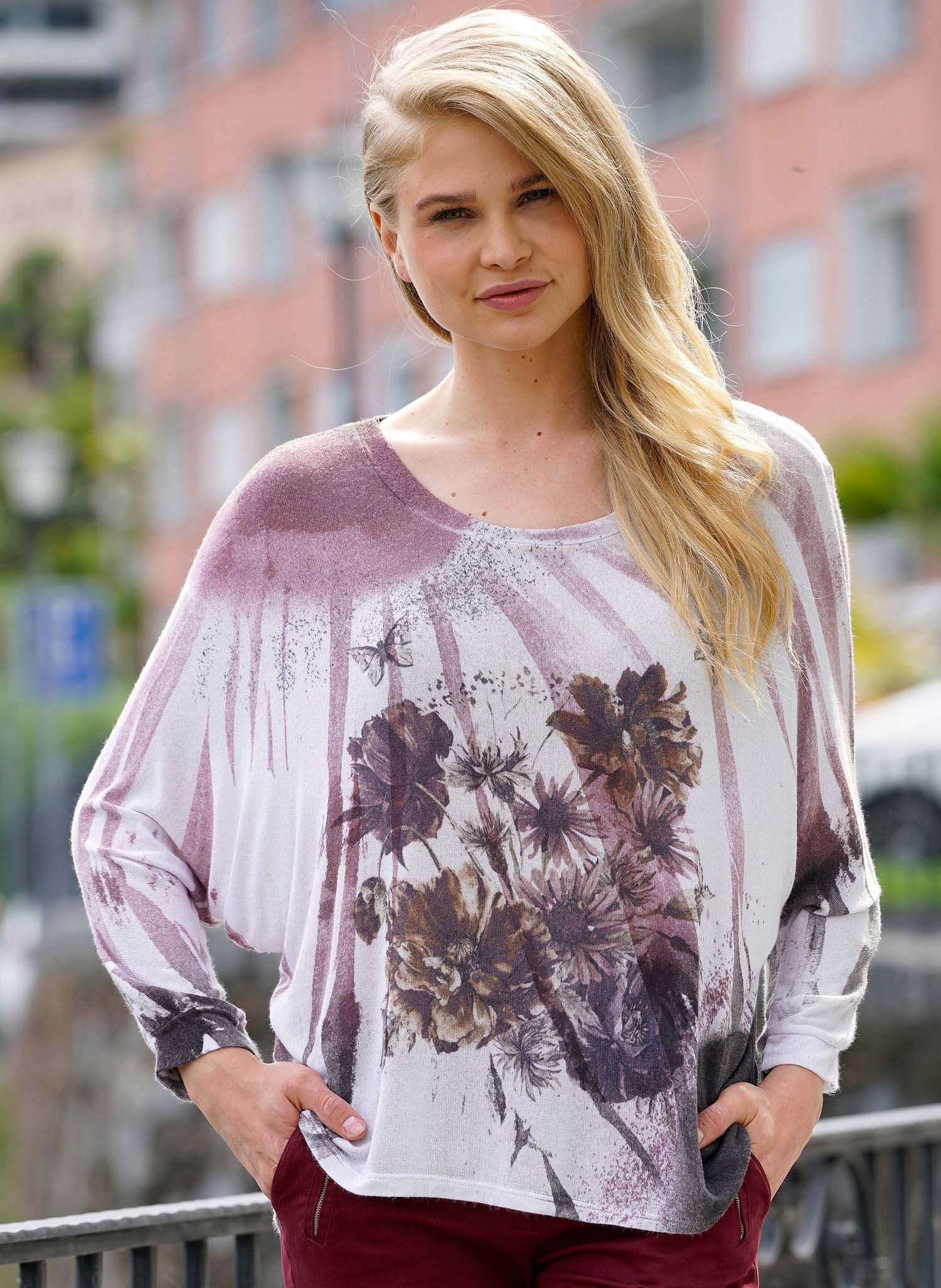 D-Pullover,Floral altrosa/anth XL 134 - 1 - Ronja.ch