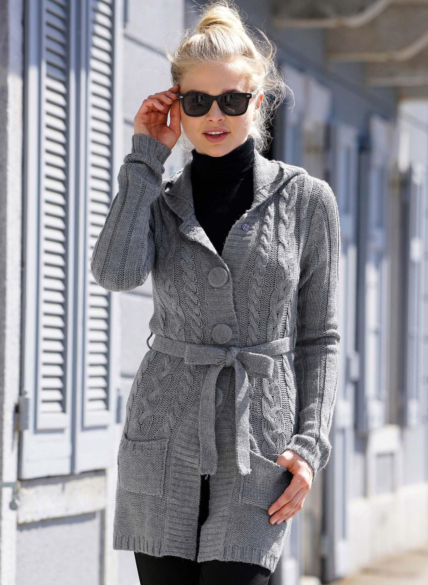 Manteau tricot, tressé, gris