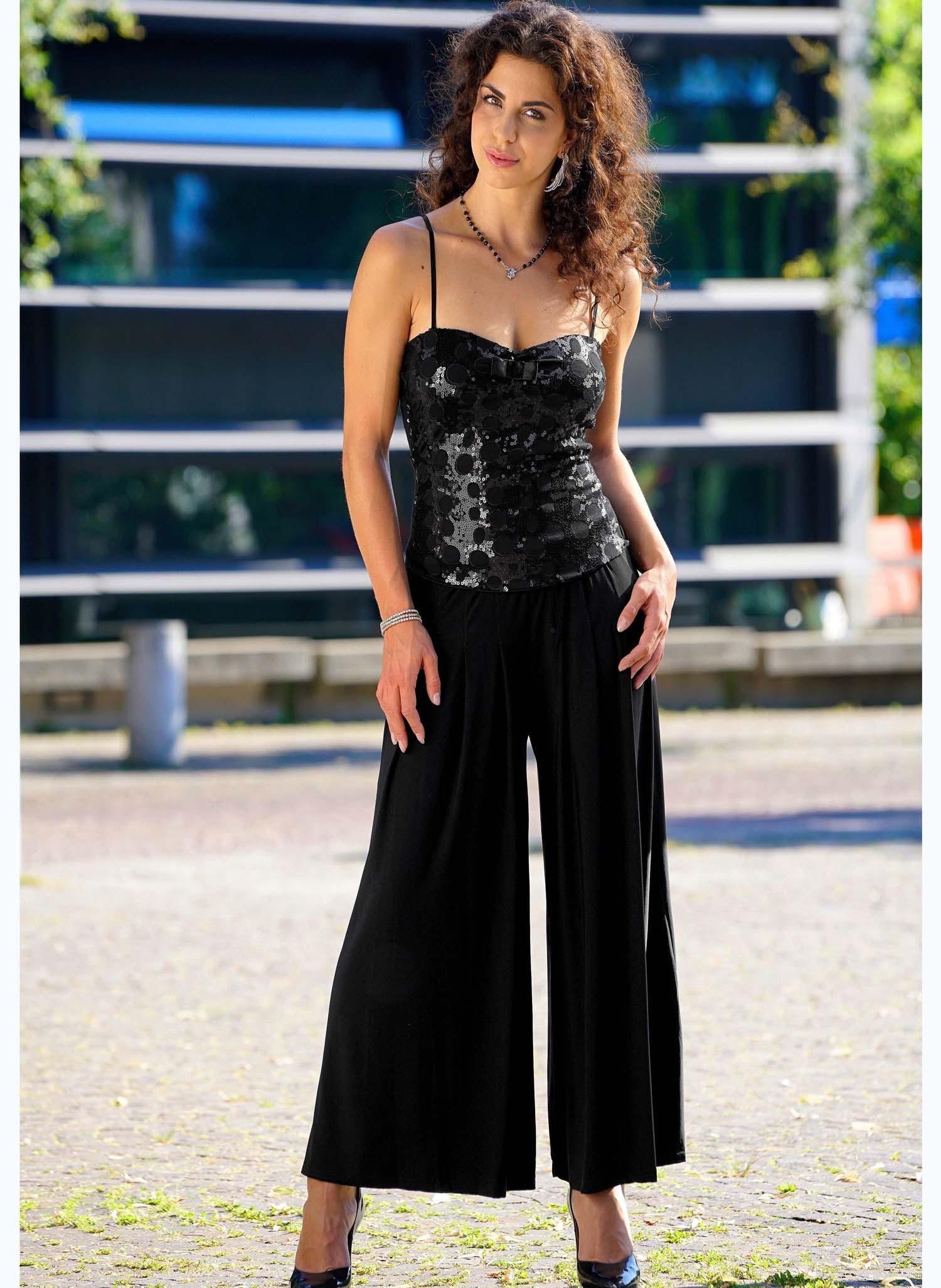 D-Pantalon 7/8, pinces, noir
