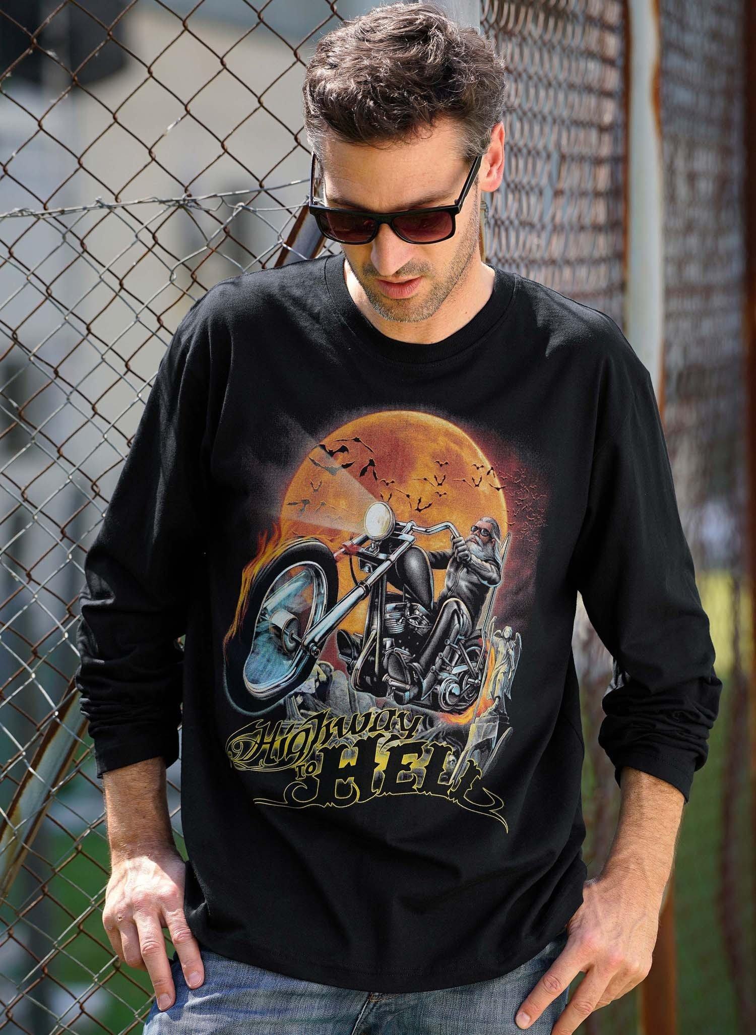 H-Shirt ML, Lune/Moto, noir