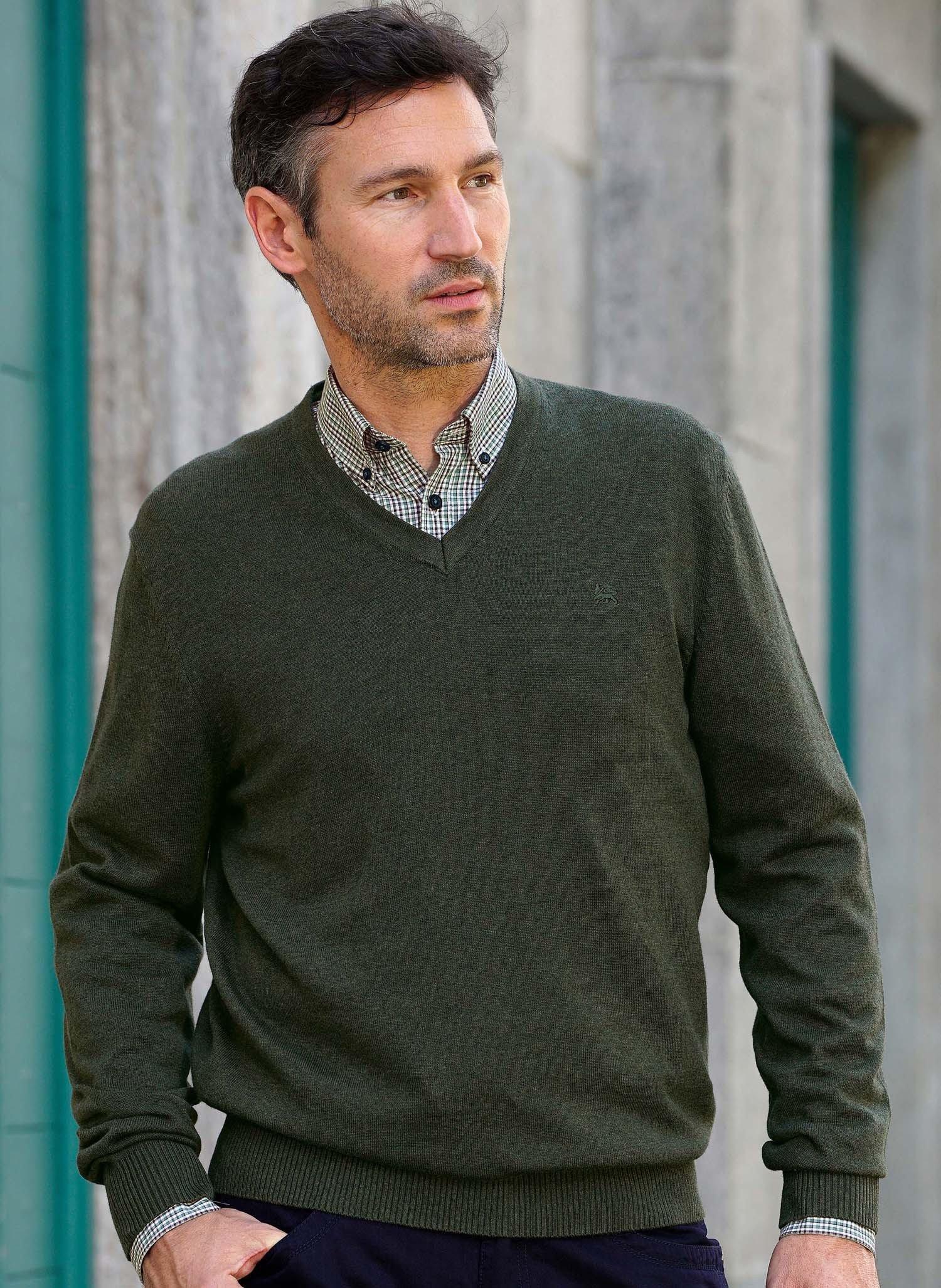 H-Pullover,encoloure V, vert
