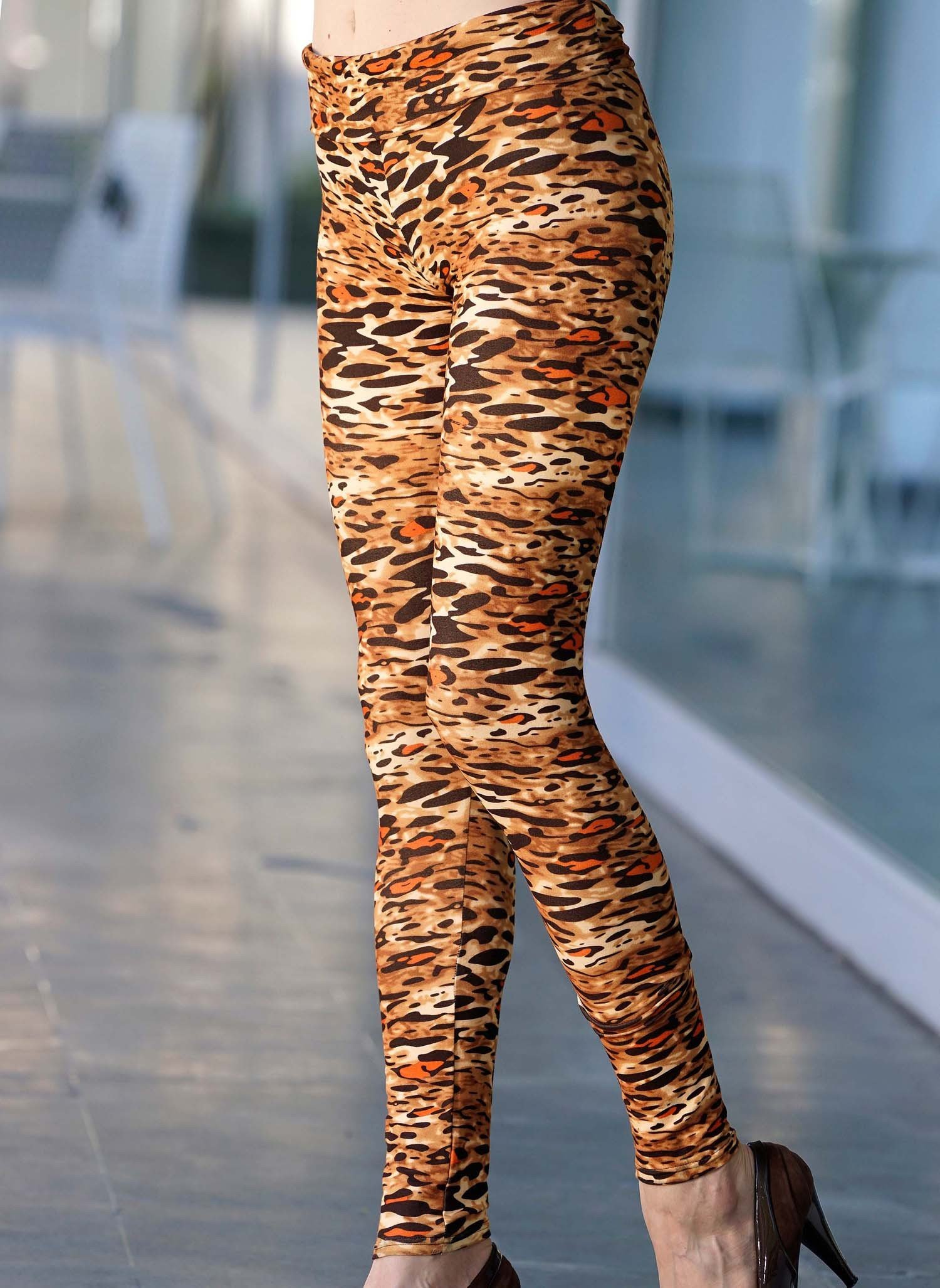 D-Leggings,Animalpr.brun/orang