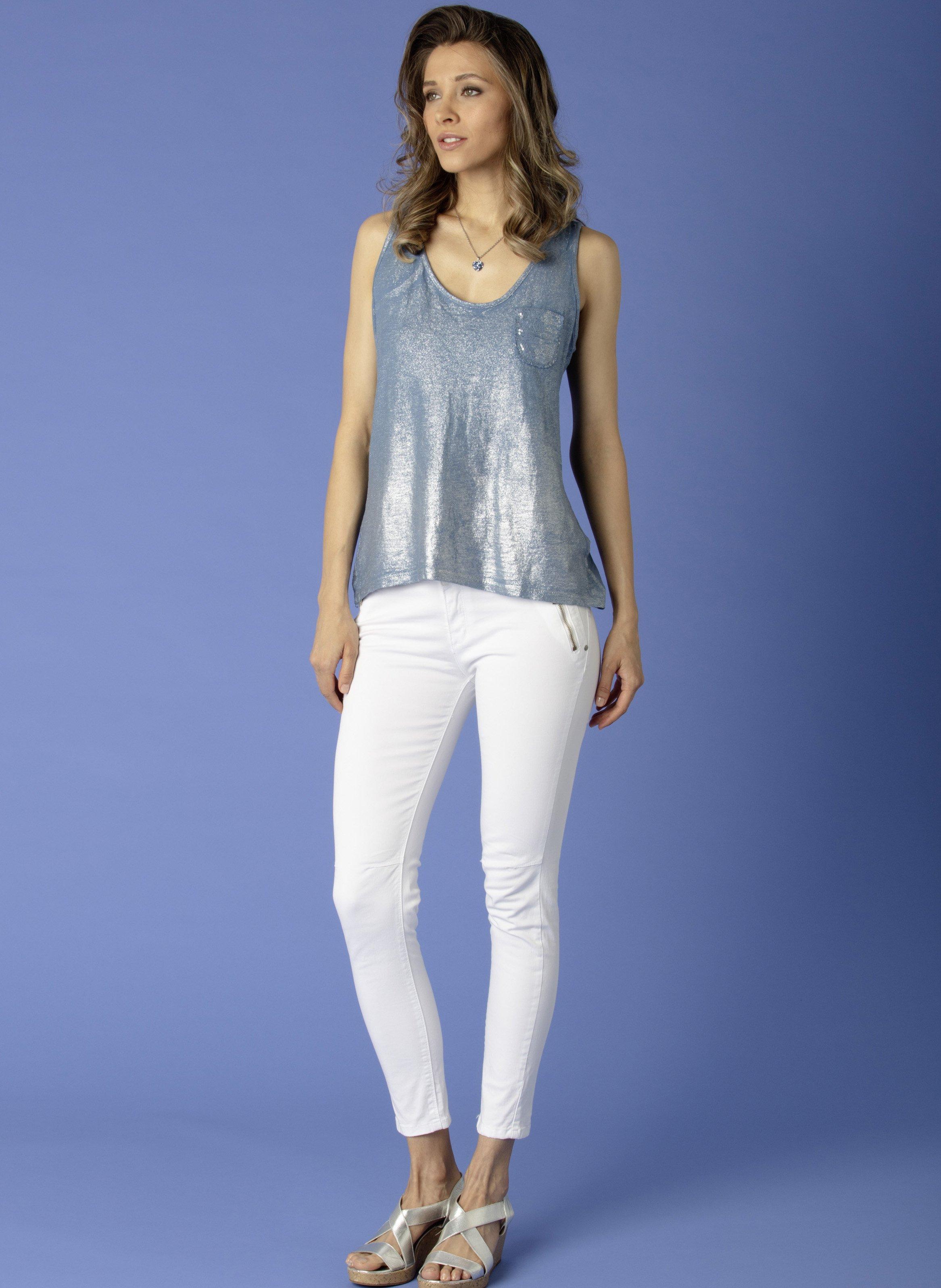 D-Pantalon-tube,zippes blanc