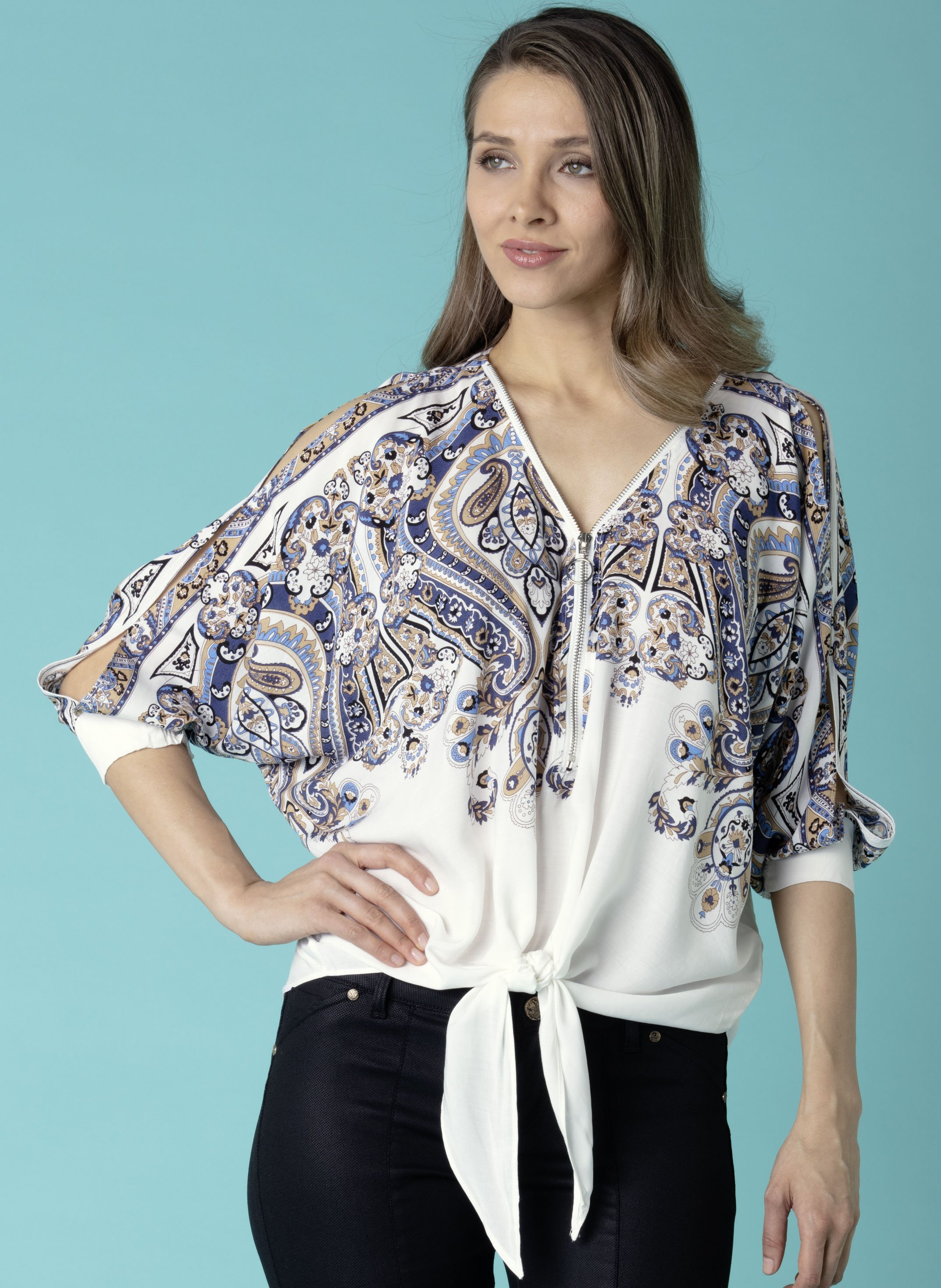 Top manches  3/4, imp.Paisley