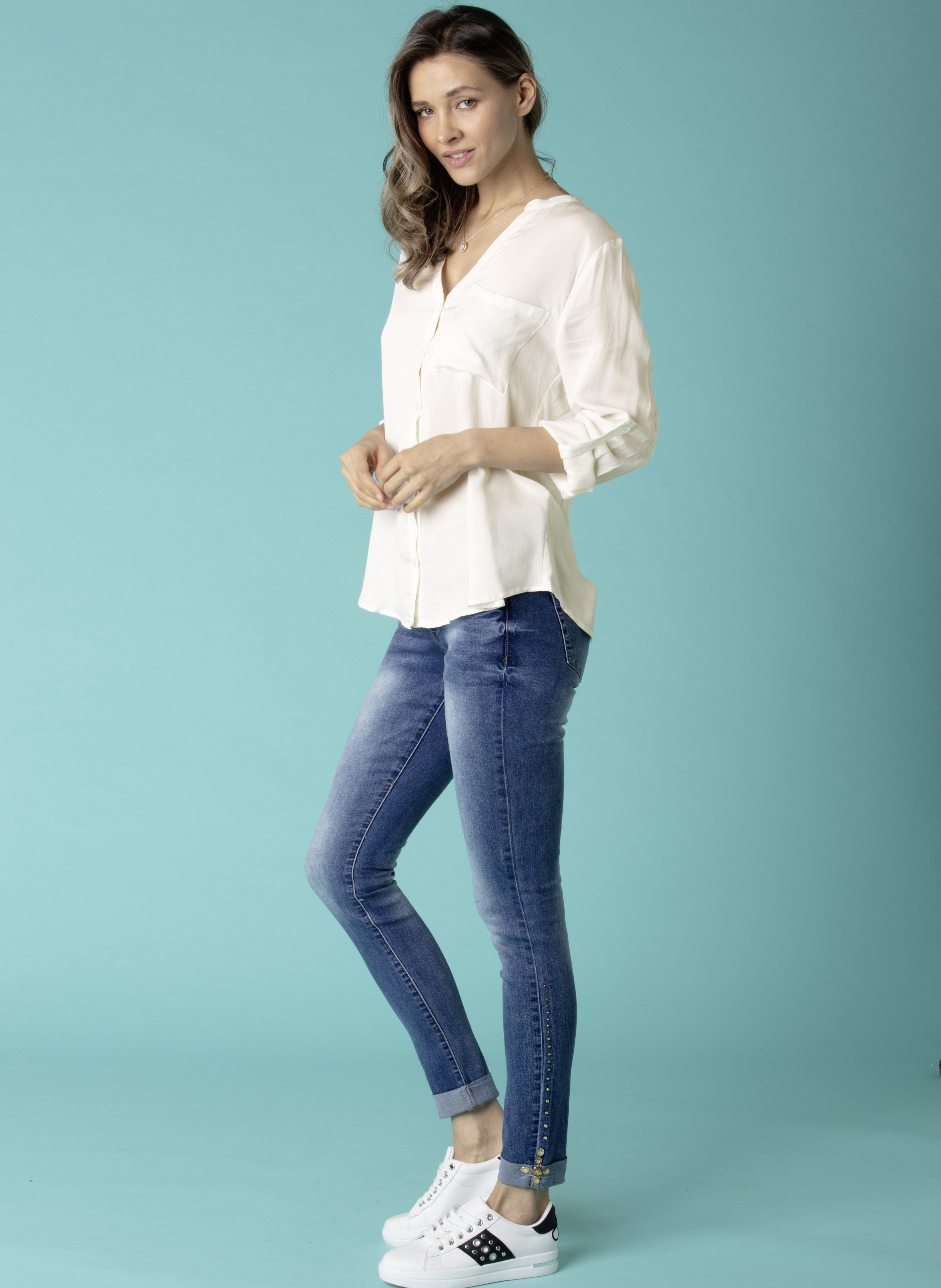 Jeans tube 5 poches, strass
