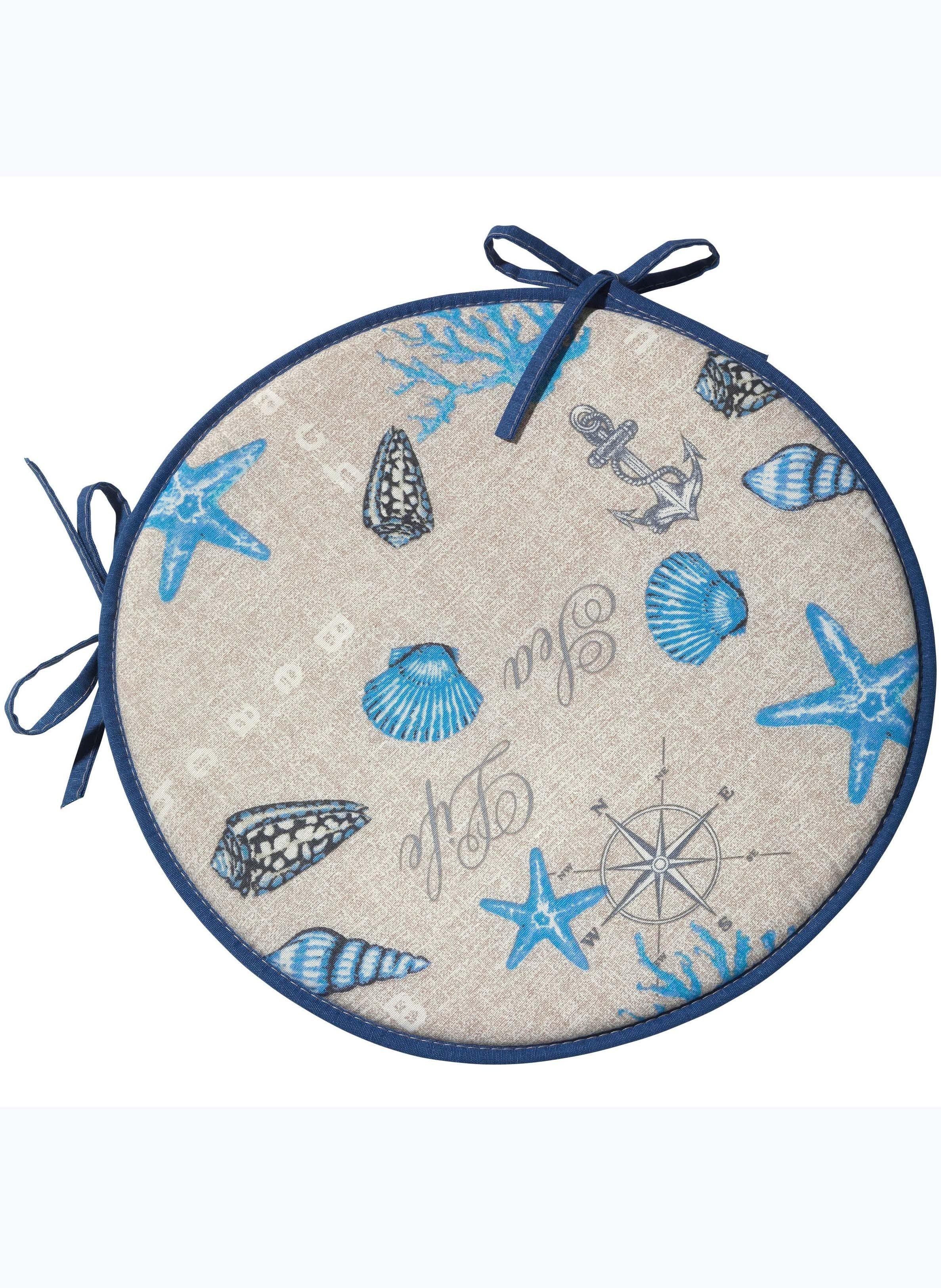 Coussin-rond Étoil.mer bleu 2p