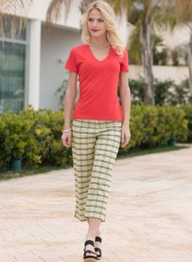 Pantalon 7/8, style écossais