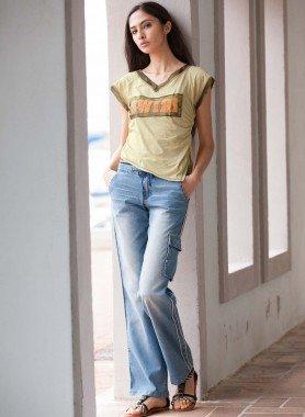 Jeans taille basse, bord en tricot