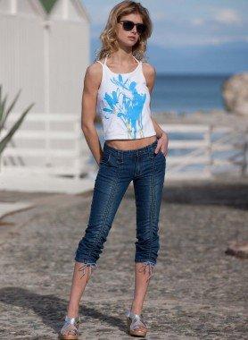 Jeans 7/8  froncé