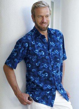 Chemise à manches courtes, imp. fleurs