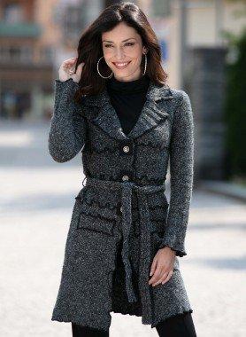 Manteau en tricot chiné