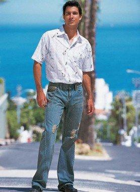 5-Pocket-Jeans, Loch-Applikation