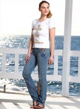 Jeans 5 poches,  rivets en laiton