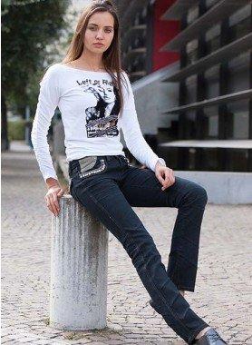 Jeans 5 poches, appl.bijouterie