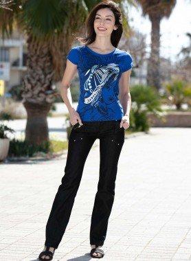Stretch-Jeans, Satinglanz