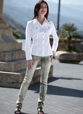 Satin-Jeans, silber