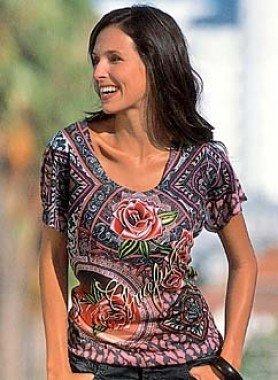 Shirt à manches courtes, roses imprimées