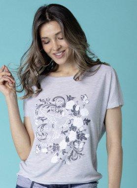 Shirt motif gris argent