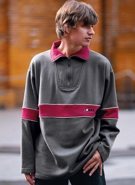 Sweat, col zippé, gris/bordeaux