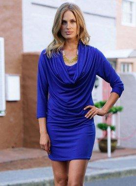 D-3/4-Arm-Kleid,Wasserf.k'blau L 052 - 1 - Ronja.ch