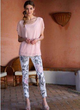 Pantalon stretch 5 poches, fleurs