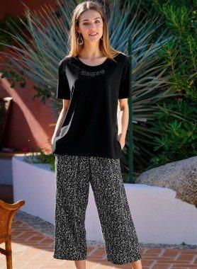 Pantalon capri, imp.graphique