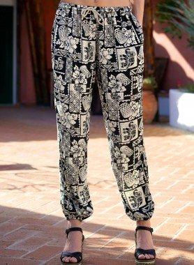 Pantalon, imp.Ethno noir/écru