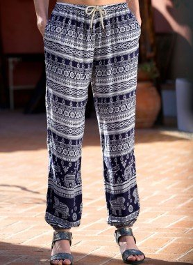 Pantalon, imp.Ethno marine/offwhite
