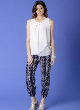 Pantalon, imp.bordure offwhite/marine