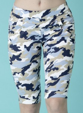 Pantalon capri, imp.camouflage