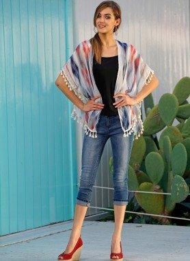 Jeans capri 5 poches, revers