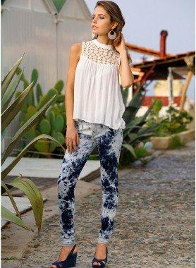 Jeans tube 4 poches, acqua/Batik