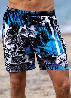 Shorts, Beach-Print blau
