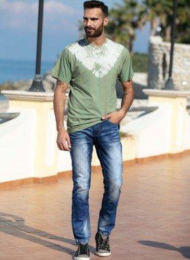Jeans 5 poches, plis d'assise