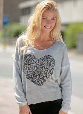 Pull-over manches longues, motif coeur