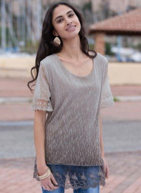 Top,  ourlet dentelle