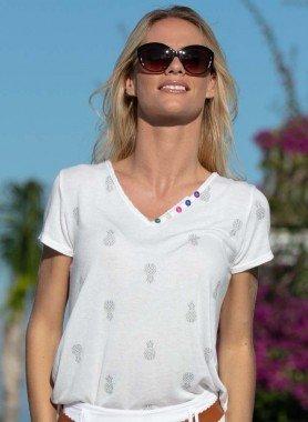 Shirt à manches courtes, boutons décoratifs
