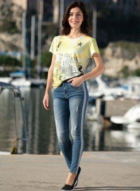 Jeans 5 poches, rayures sur les côtés
